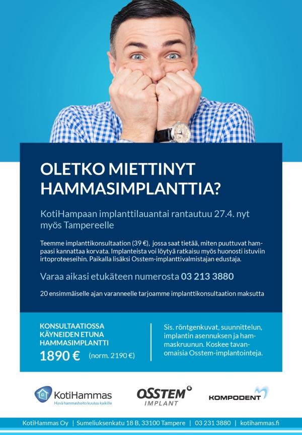 Implanttilauantai rantautuu myös Tampereelle